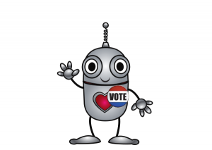 "Happy robot campaign volunteer wearing a button that says ""Vote"""