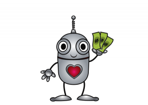 Happy robot campaign volunteer with money in its hand