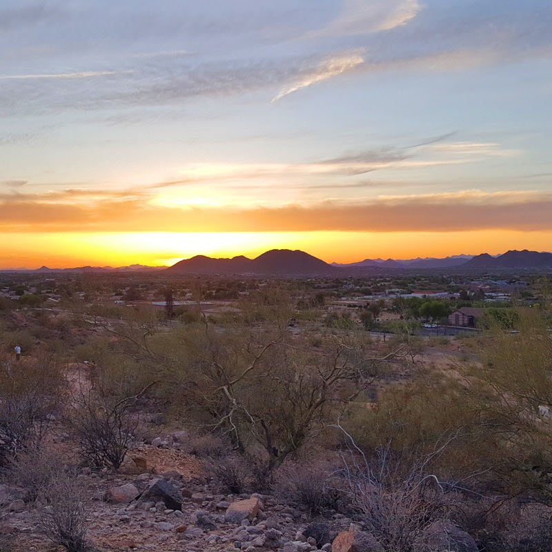 sunrise or sunset over the scrub near Phoenix, AZ