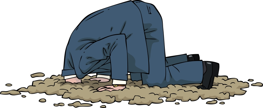 Illustration of a man in a suit with his head in the sand